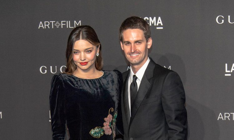 Miranda Kerr and Evan Spiegel of Snapchat